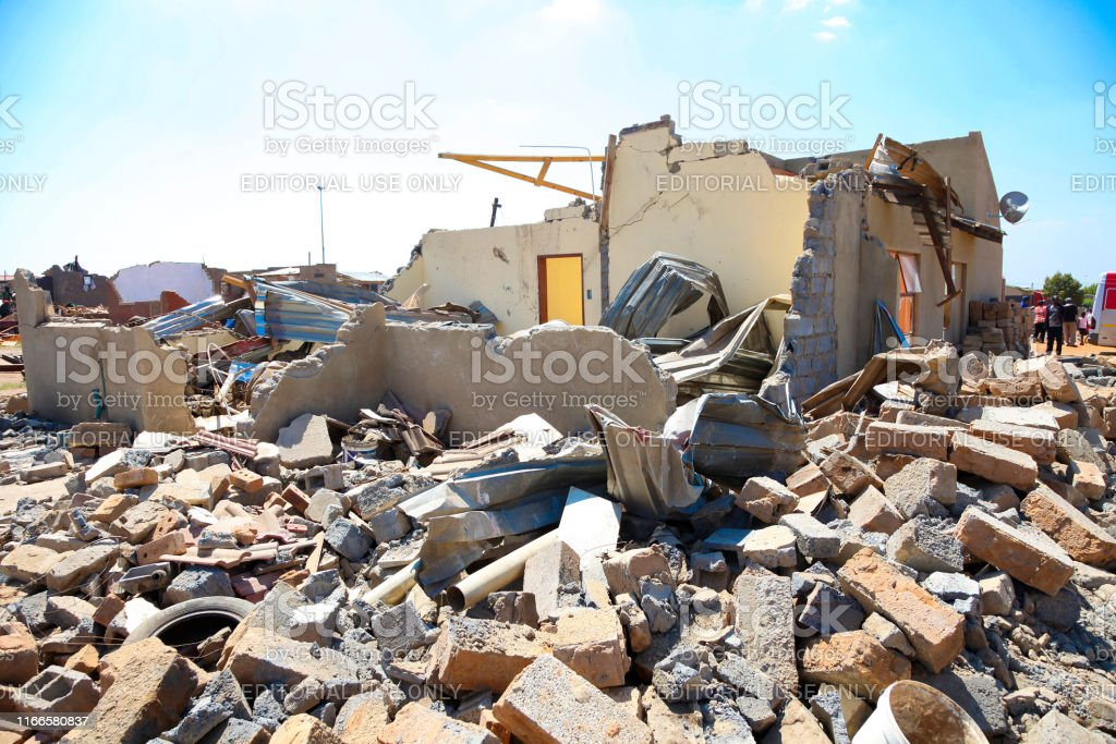 Johannesburg, South Africa - October 04 2011: Destroyed home with...