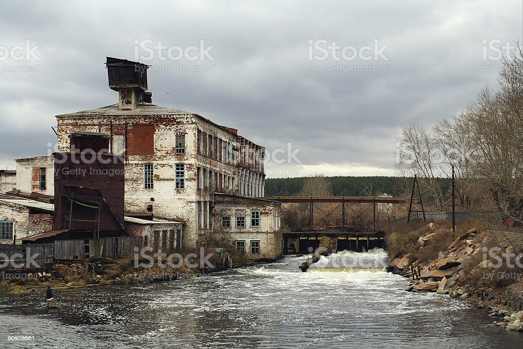 destroyed house above water royalty-free stock photo