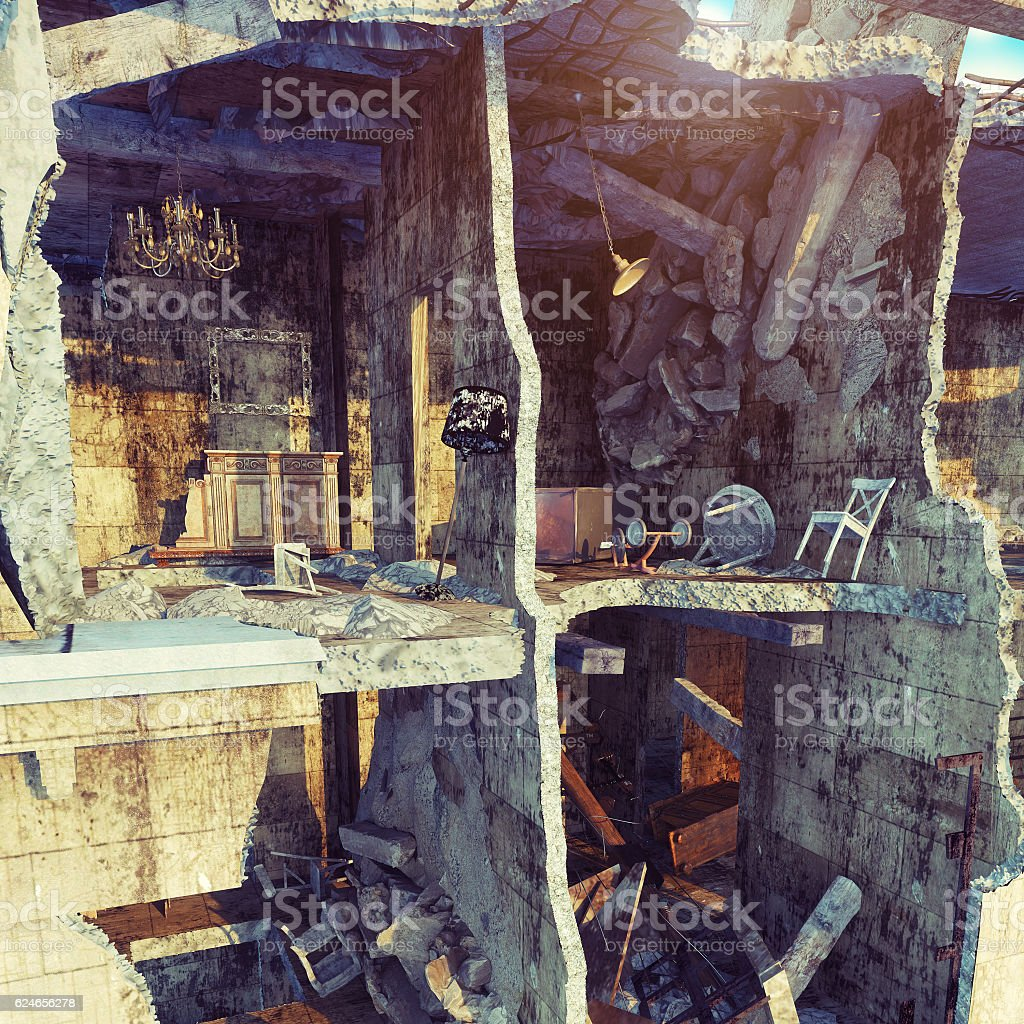 destroyed house. stock photo