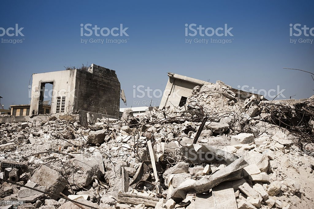Destroyed houses after earthquake stock photo