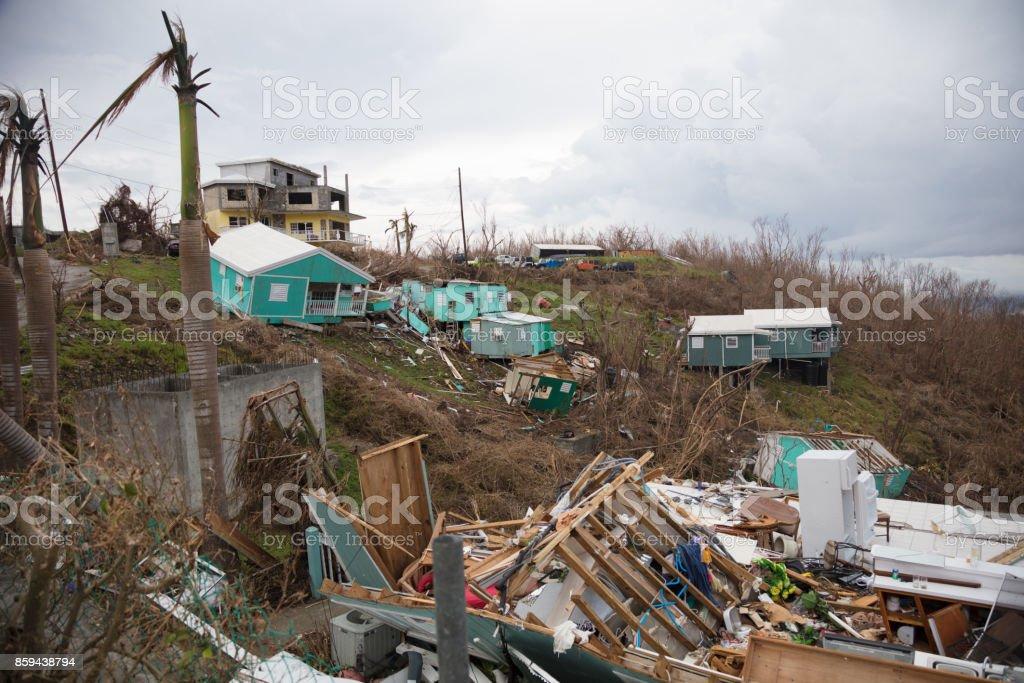 destroyed  houses, hurricane irma 2017, st john, united states virgin islands stock photo