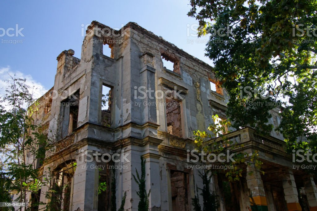 Destroyed in the war: Ruin in Bosnia and Herzegovina stock photo