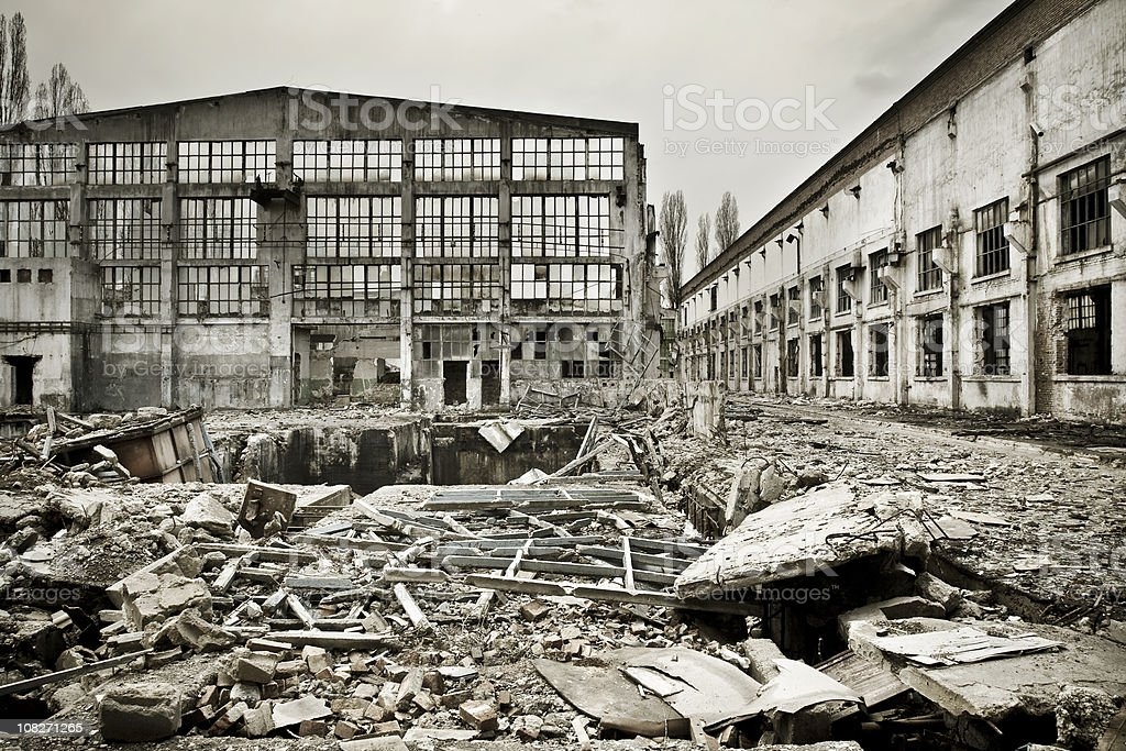 Destroyed industrial building on crisis time royalty-free stock photo