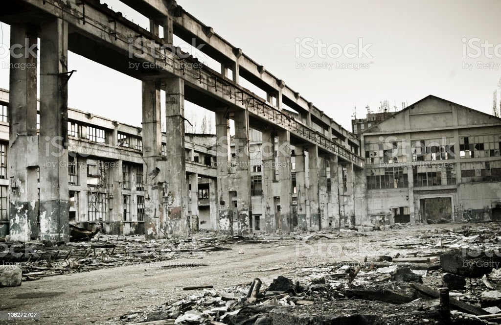 Destroyed industrial building royalty-free stock photo
