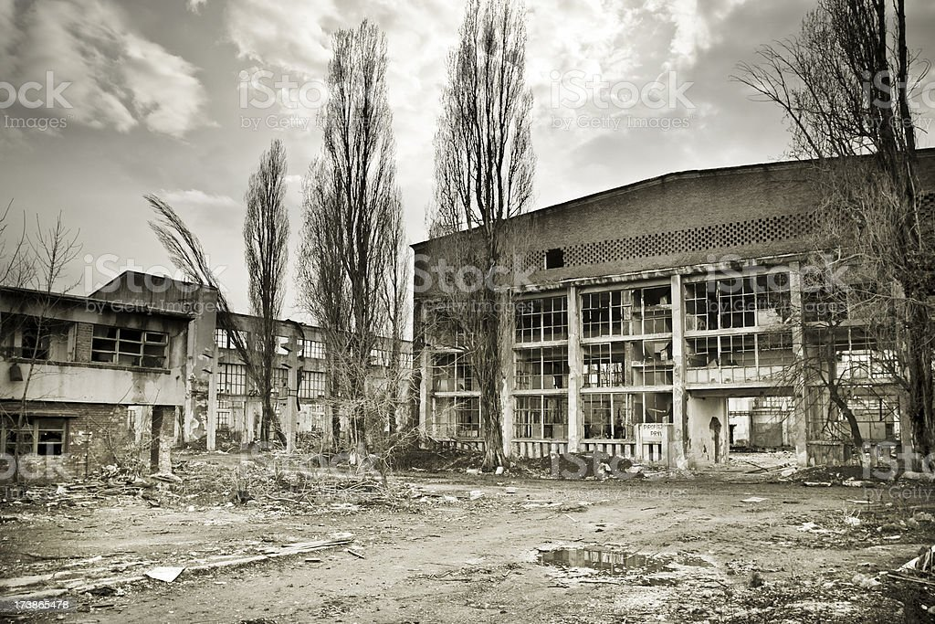 Destroyed industrial buildings royalty-free stock photo