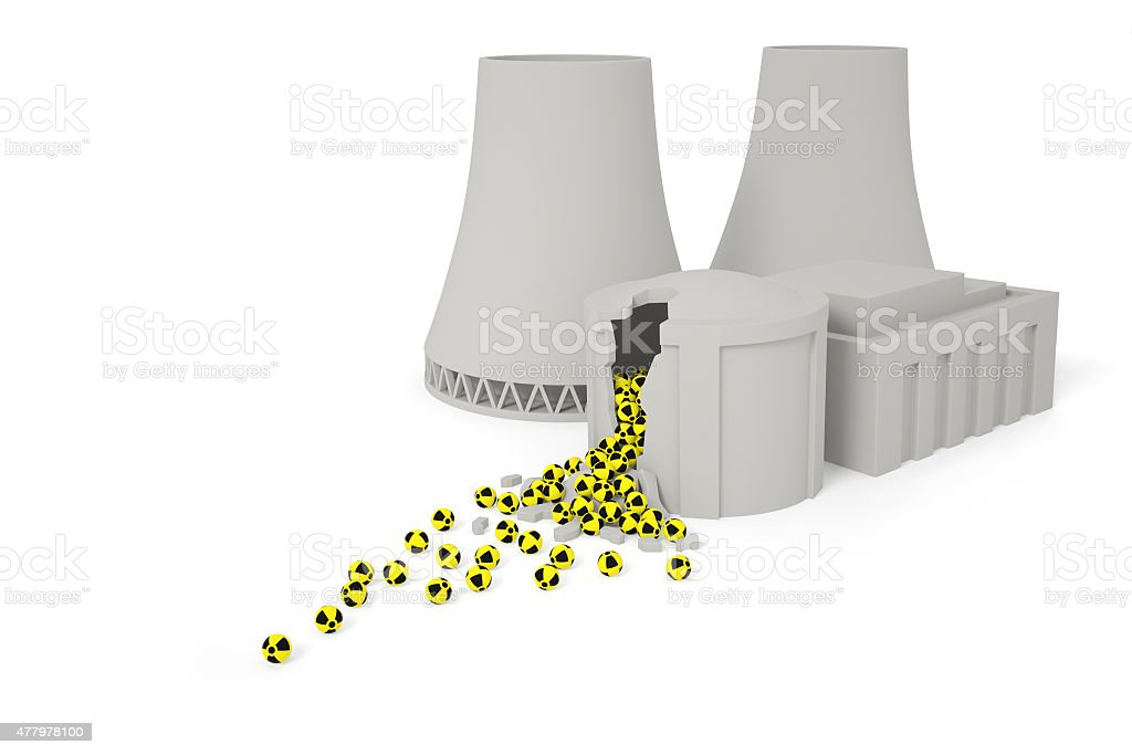 Destroyed nuclear power station stock photo