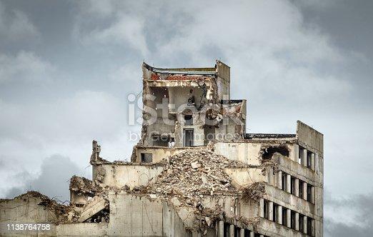 Destroyed old concrete building.