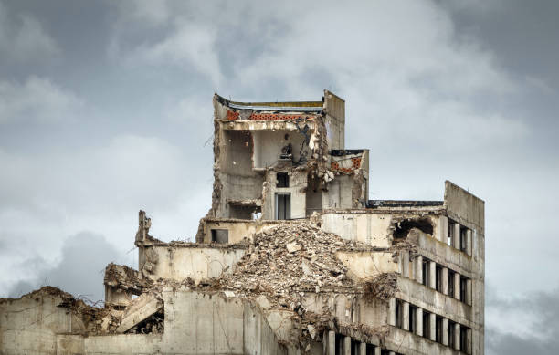 Destroyed old concrete building. stock photo