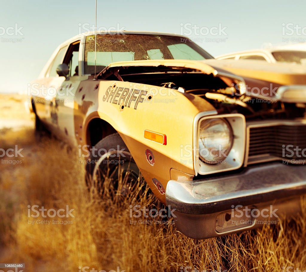destroyed Sheriff's car royalty-free stock photo