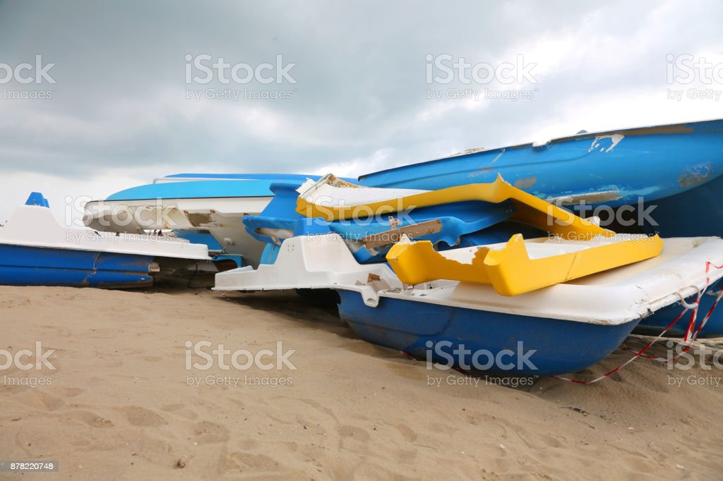 destroyed ships on the beach stock photo