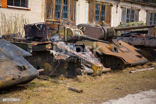 istock Destroyed soviet old tanks 687023624