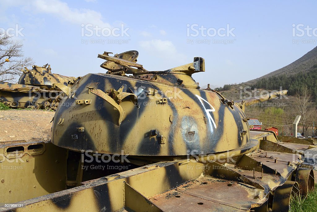 Destroyed tanks royalty-free stock photo