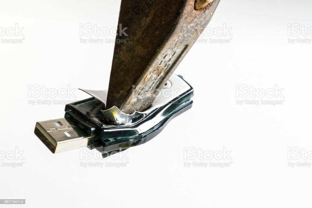 destroyed USB stick stock photo