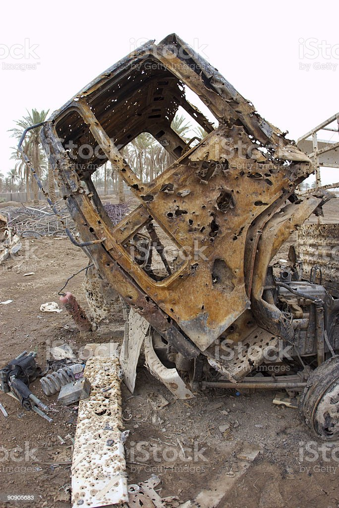 Destroyed Vehicle stock photo