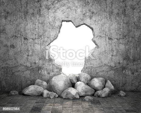 istock Destroyed wall of concrete structure. Concept of escape to freedom 898902564