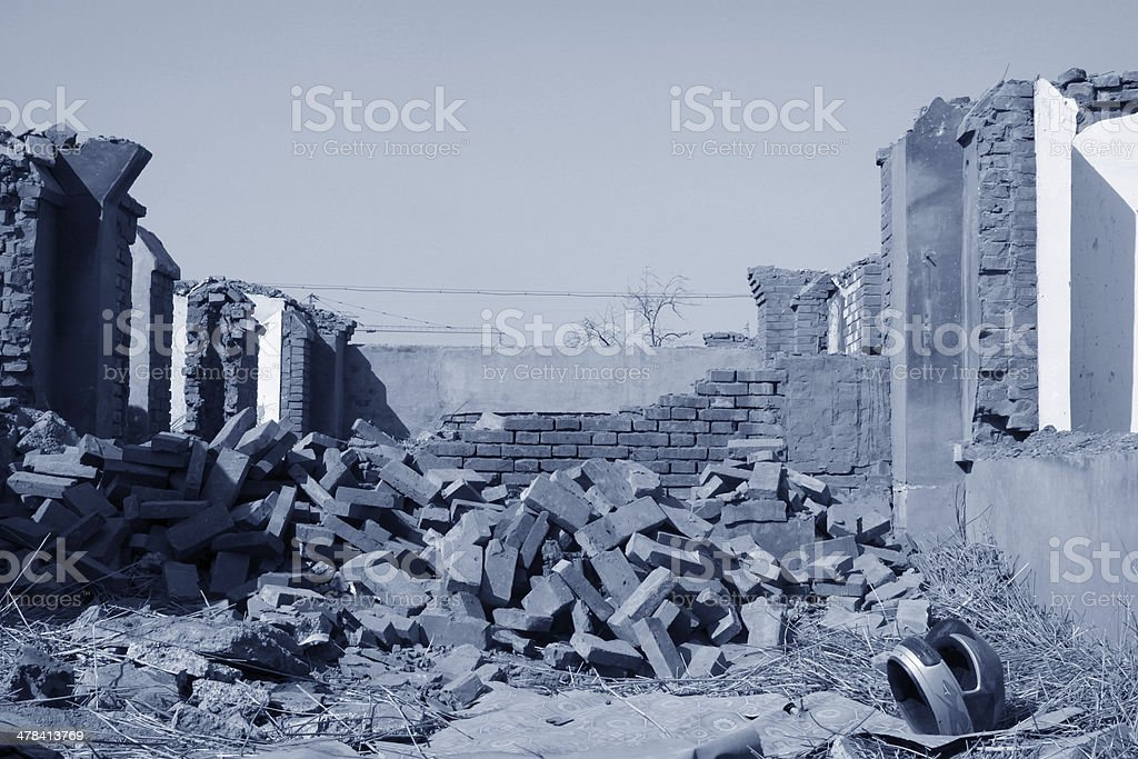 destroyed walls stock photo