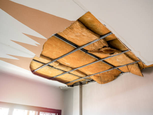 destroyed white ceiling with visible structure inside. - defects stock pictures, royalty-free photos & images