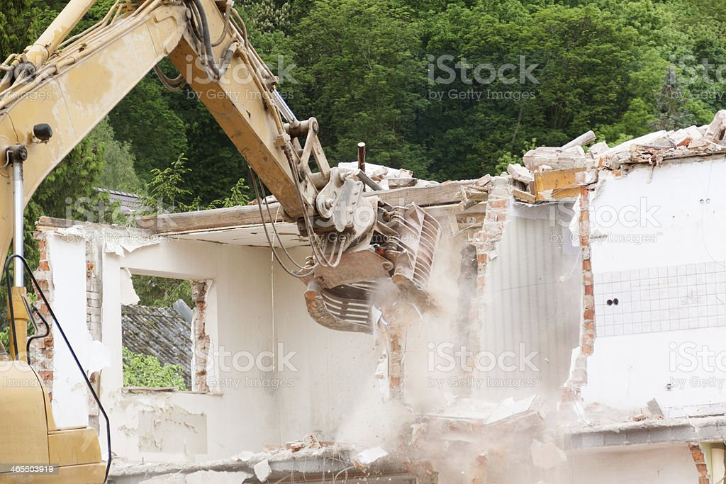 destroying house stock photo
