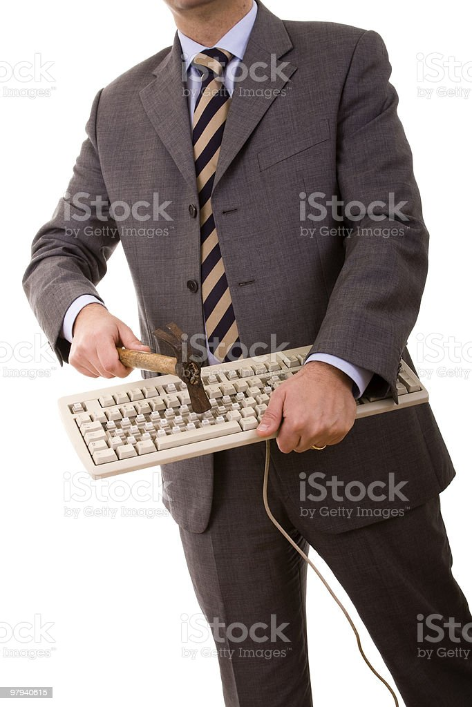destroying the keyboard royalty-free stock photo