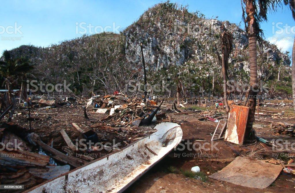 Destruction and debris after 1998 Hurricane Mitch disaster  on Guanaja Bay Islands Honduras stock photo