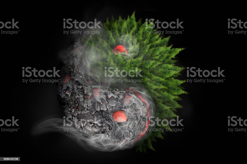 Destruction and Rebirth. 3D Rendering of Yin Yang symbol incorporating lava flow and vegetation regrowth following volcanic eruption in Hawaii. stock photo