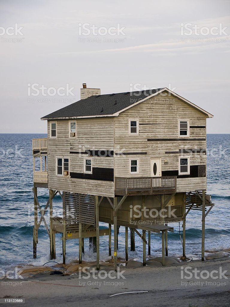 Destruction Beach Home stock photo