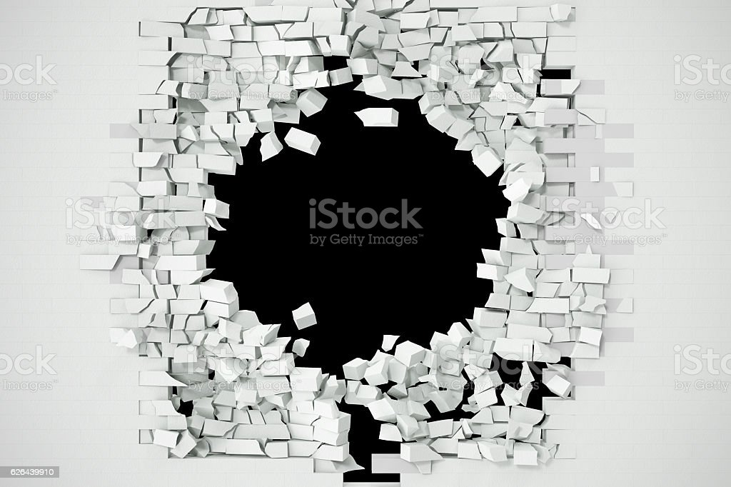 Destruction of a white brick wall for pasting anything text stock photo