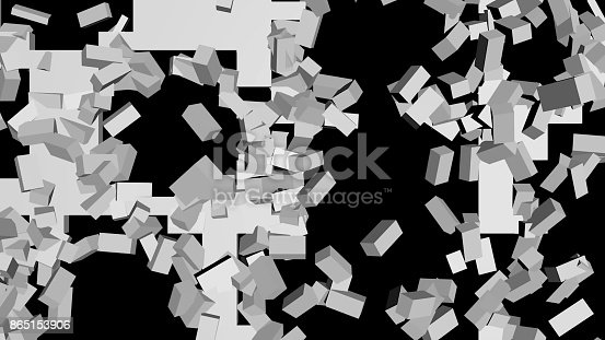istock Destruction of a white brick wall on a black background 865153906