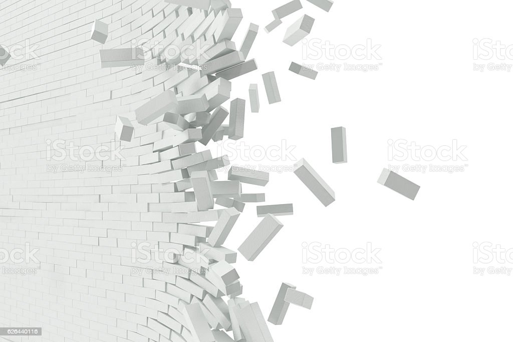 Destruction of a white wall with blank text. 3d illustration stock photo