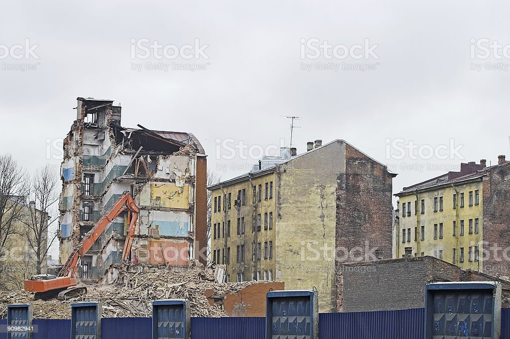 Destruction of Old Buildings stock photo