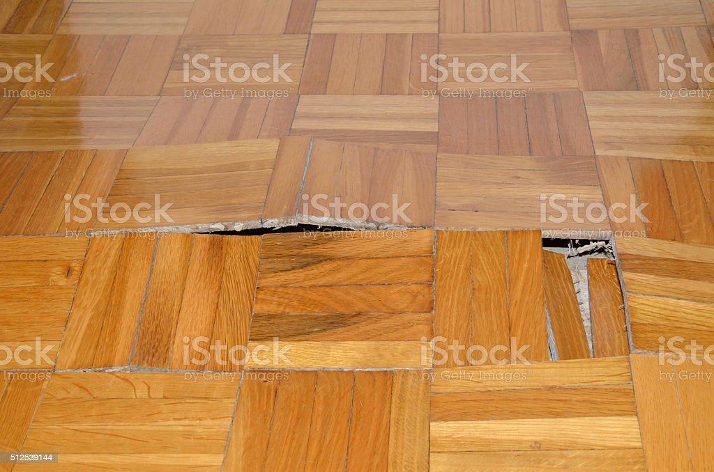 Destruction of Parquet in Apartment stock photo