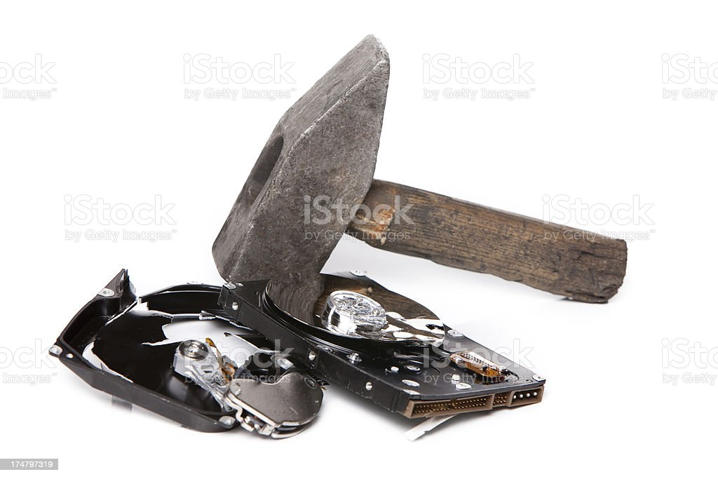 Destruction of the hard drive with a hammer XXXL stock photo