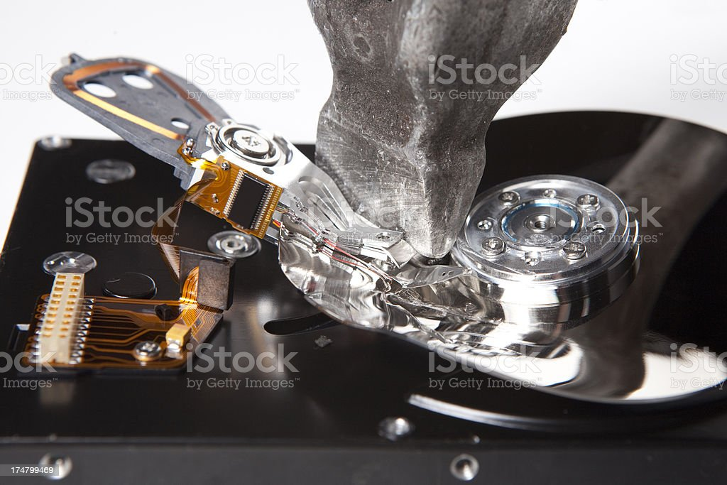 Destruction of the hard drive with a hammer XXXL royalty-free stock photo