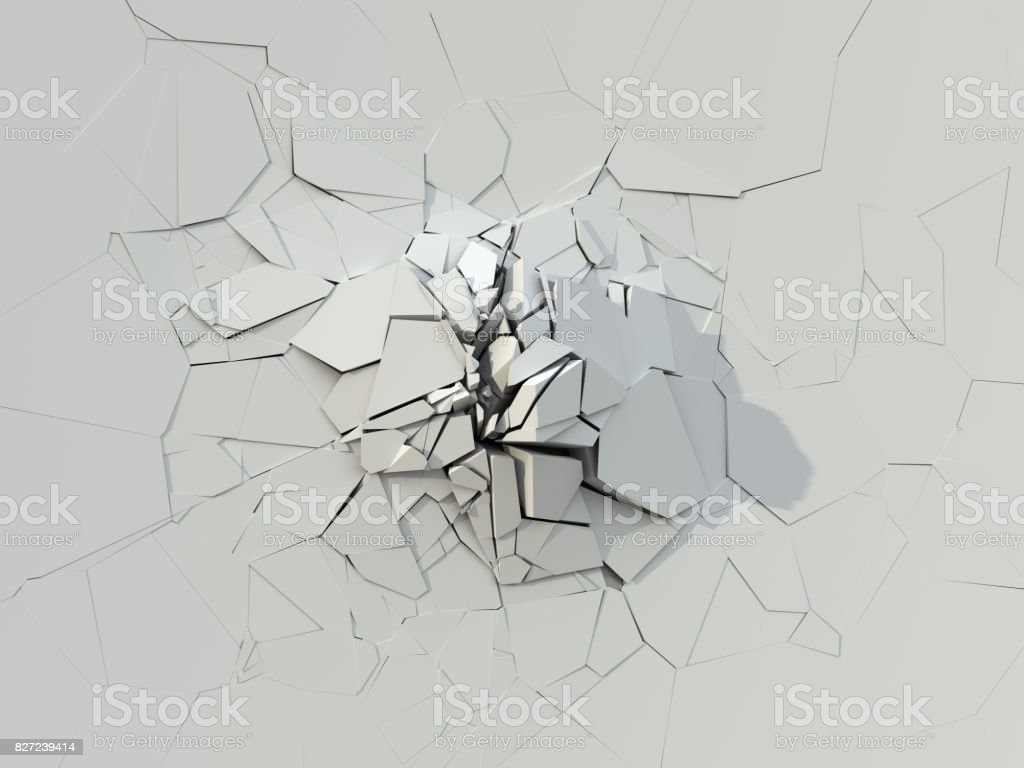 Destruction Of The White Concrete Wall stock photo