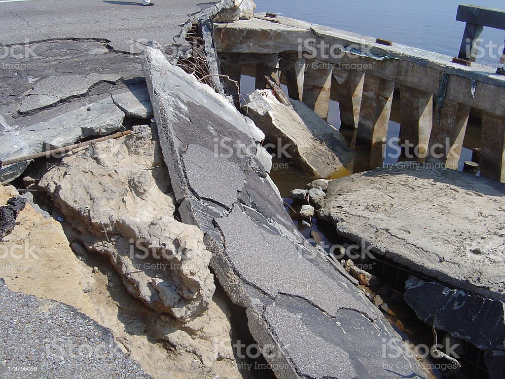 Destruction of US 90 royalty-free stock photo