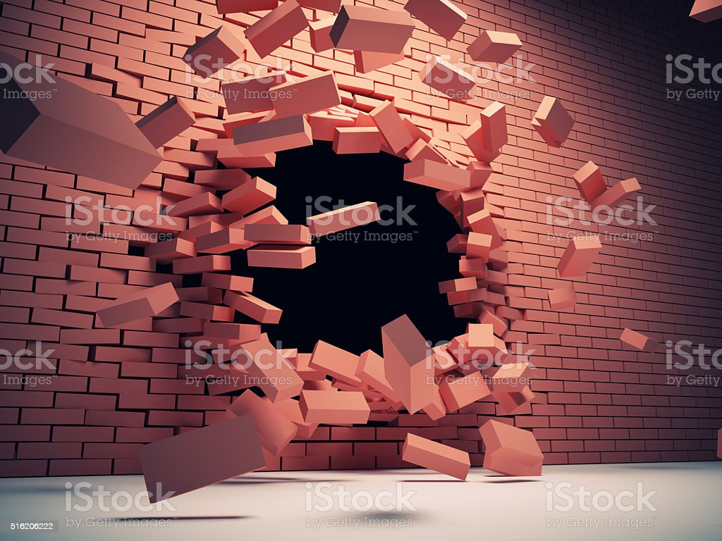Destruction wall stock photo
