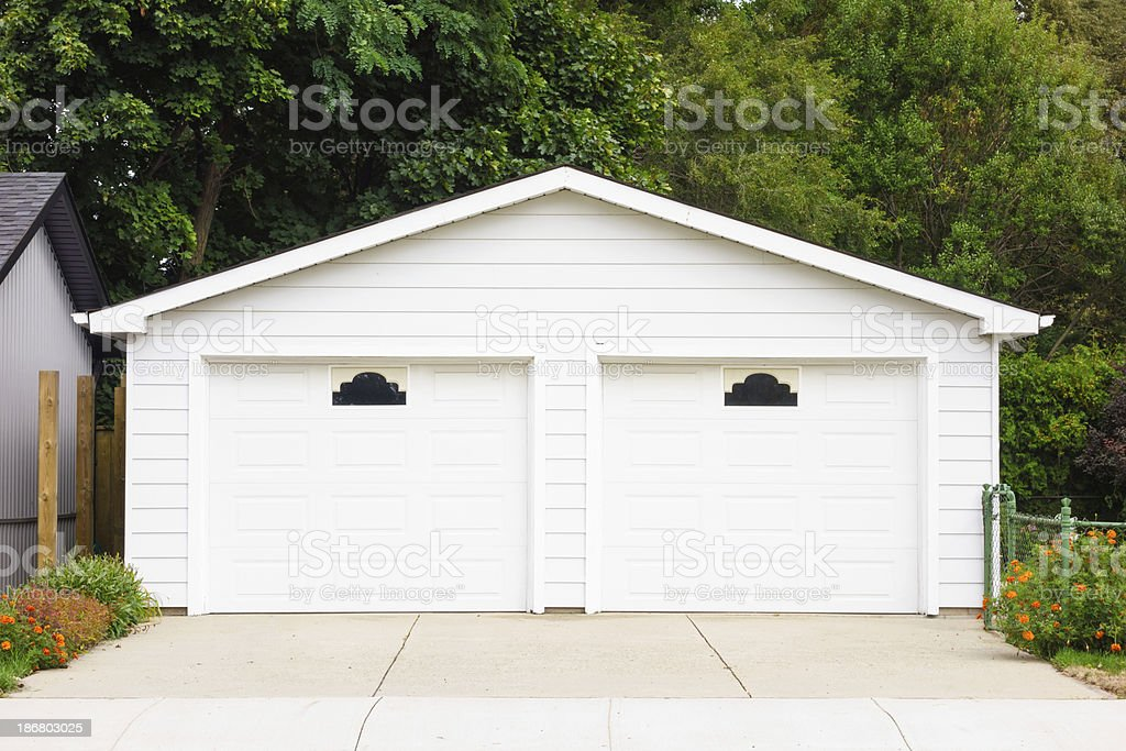 Detached Double Garage stock photo