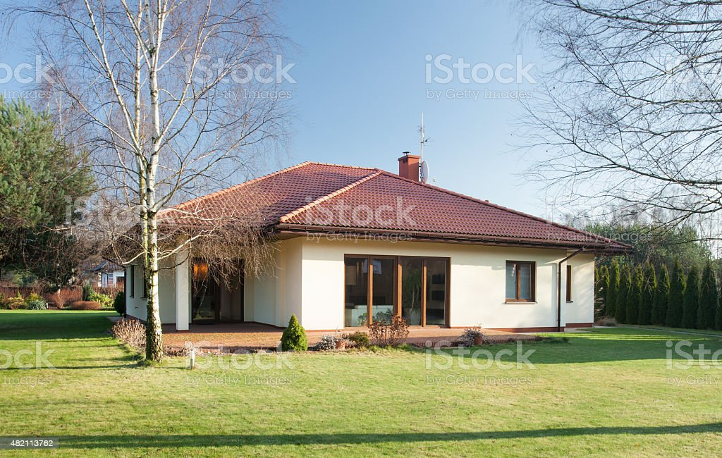 Detached house at sunny day stock photo
