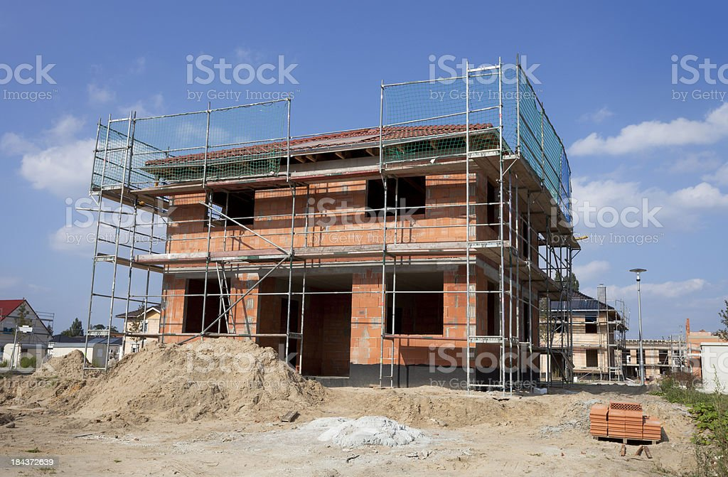 Detached house - construction site royalty-free stock photo