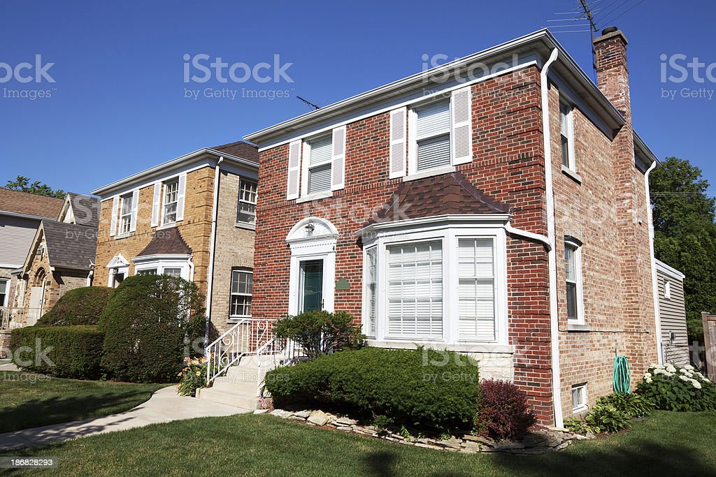 Detached House in a North Side Chicago Neighborhood royalty-free stock photo