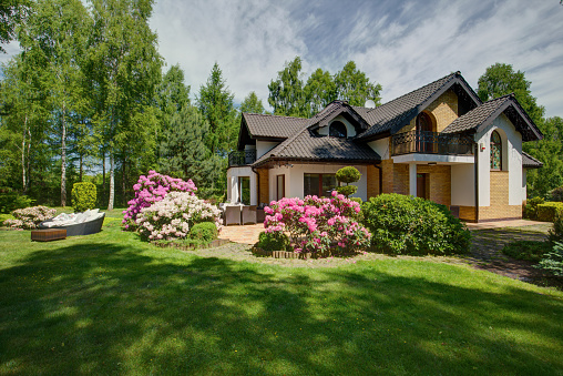 istock Detached house with beauty garden 492428562