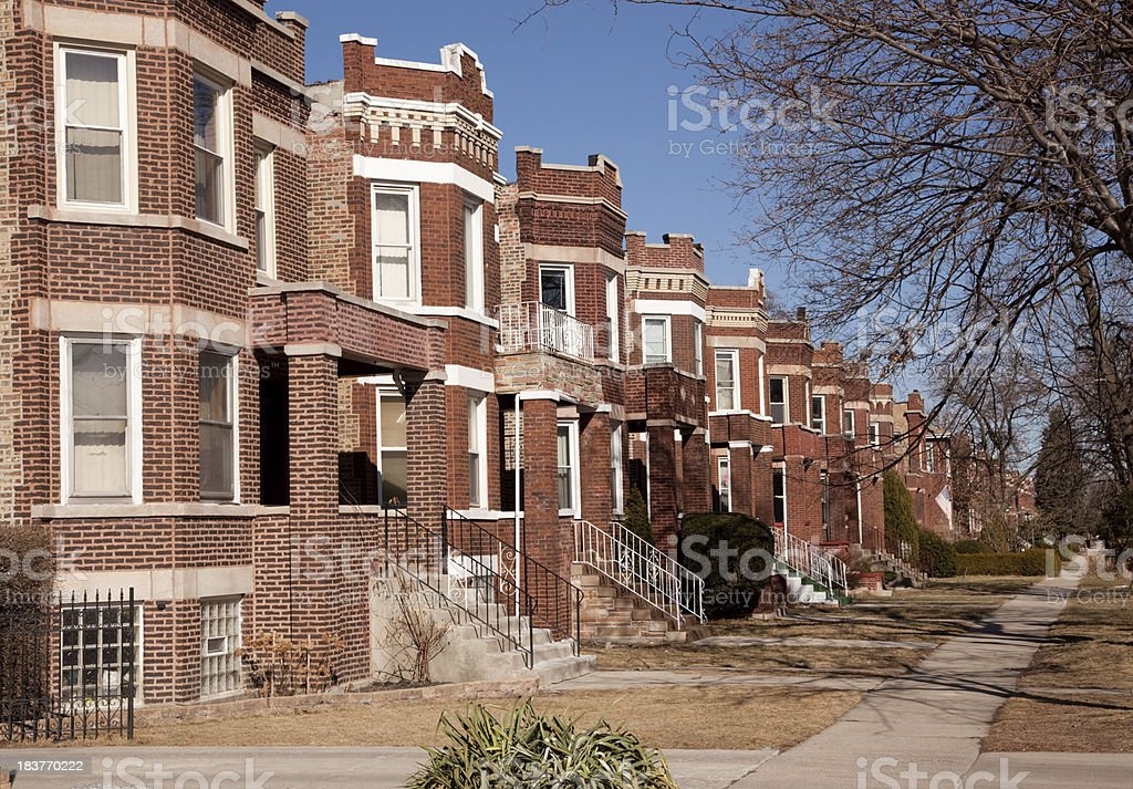 Detached houses in Chicago royalty-free stock photo
