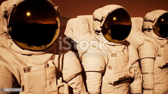 istock A detachment of astronauts preparing to explore the planet Mars. 3D Rendering 1082606660
