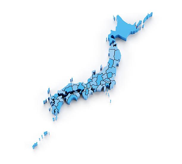 日本の 3 d の地図で、地域の独立したアイテム - 日本 地図 ストックフォトと画像
