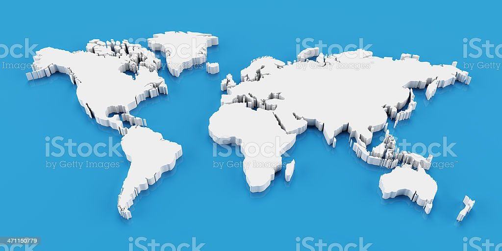 Detail 3d world map stock photo