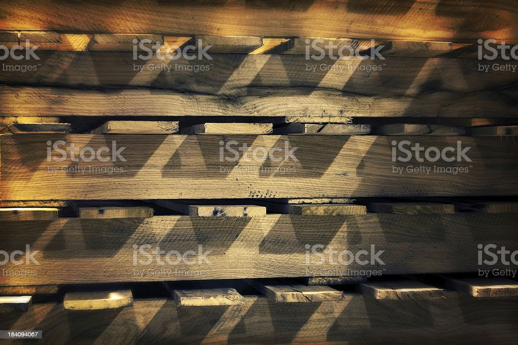Detail - a stack of new wood palates effect stock photo