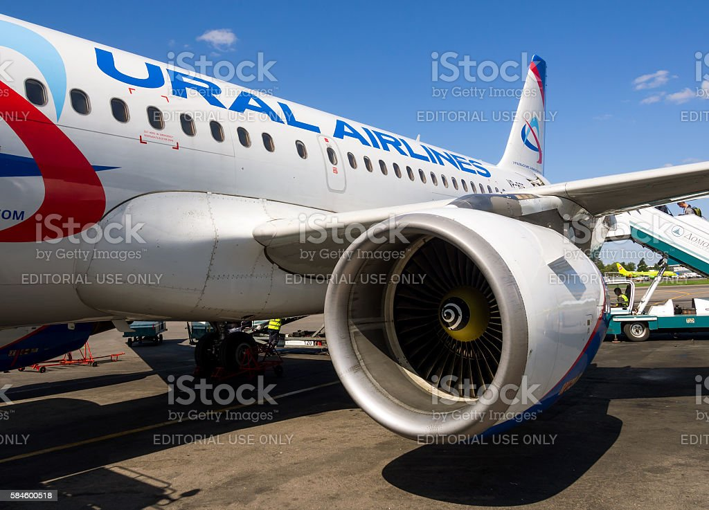Detail A321 aircraft airlines Ural Airlines in airport Domodedovo stock photo