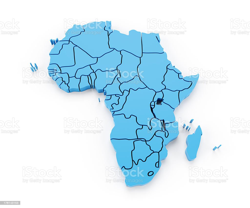 Detail africa map with national borders stock photo