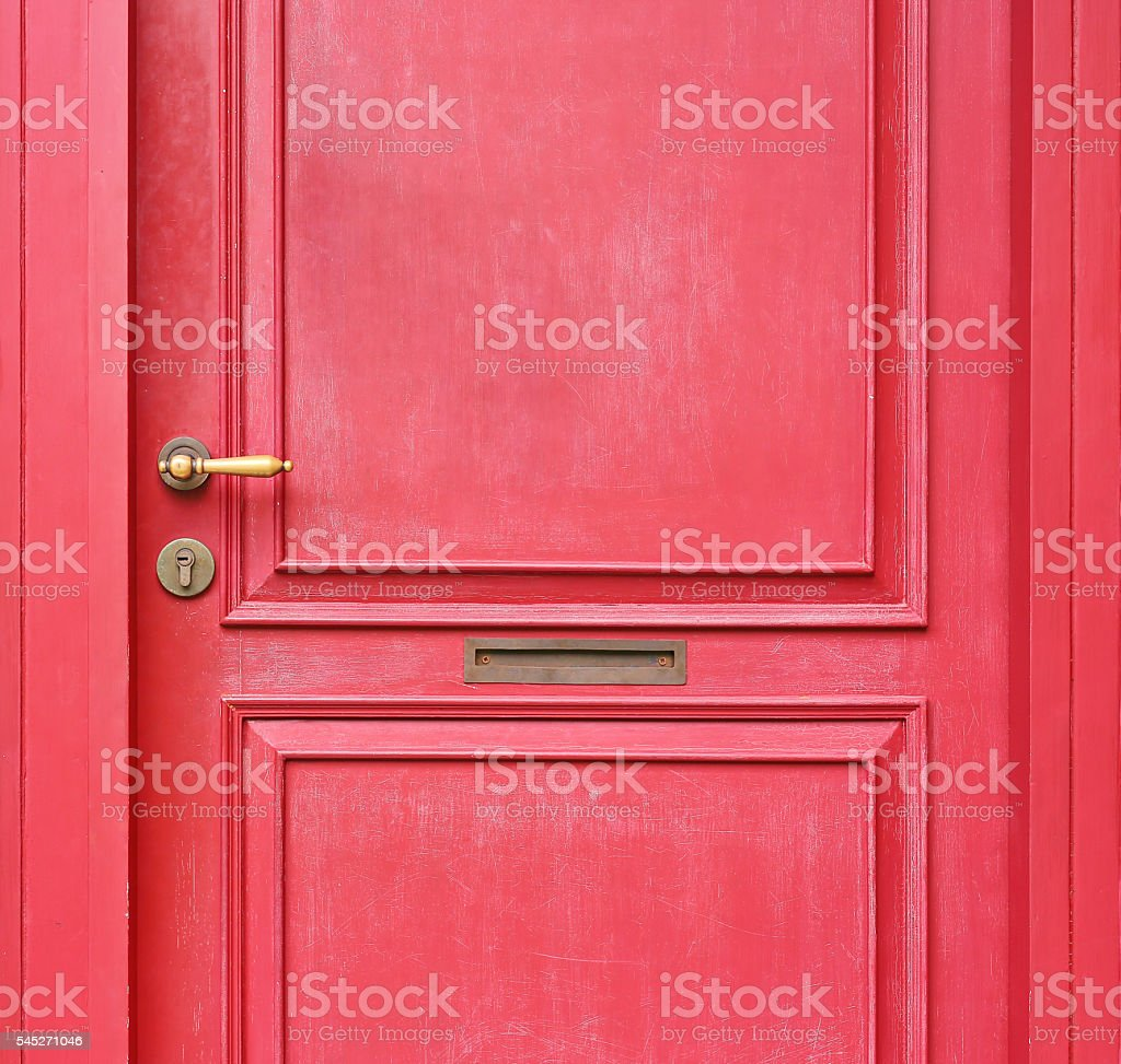 Detail antique chinese red door stock photo