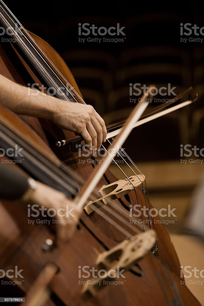 Detail basses in a symphony orchestra stock photo